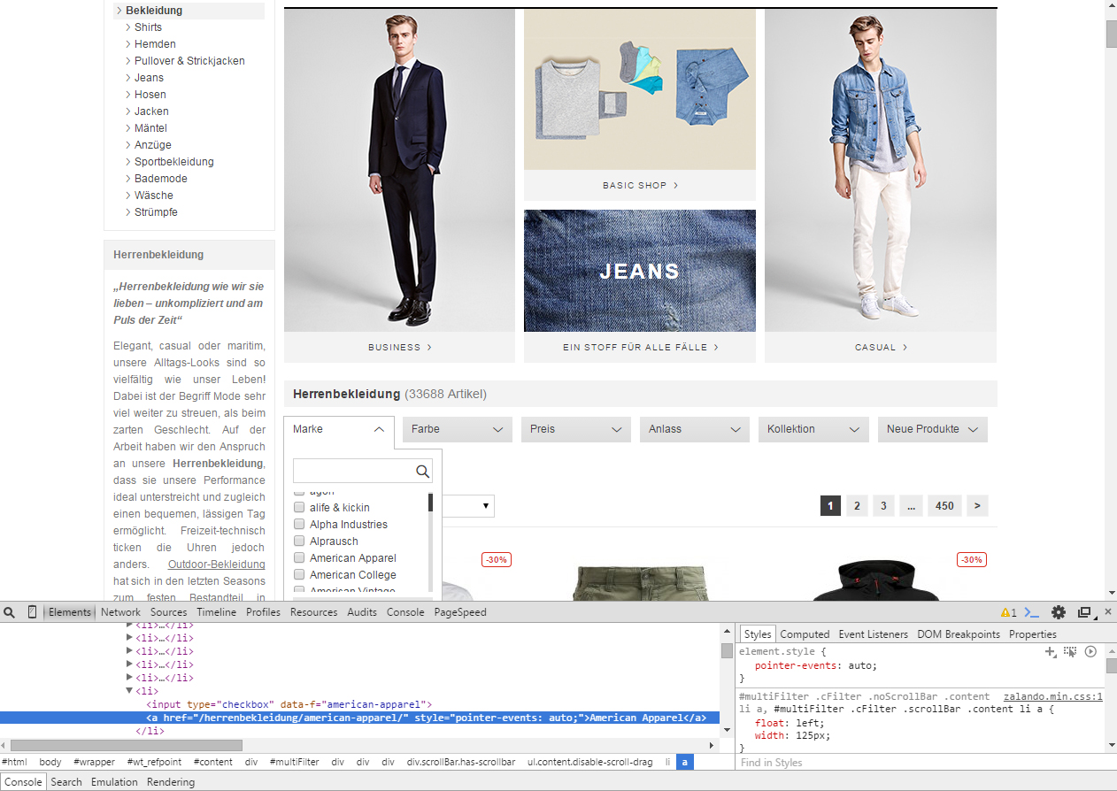 Screenshot Zalando Produktfilter