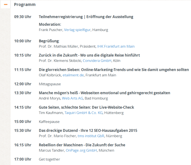 Rahmenprogramm des Online-Marketing-Tags 2015