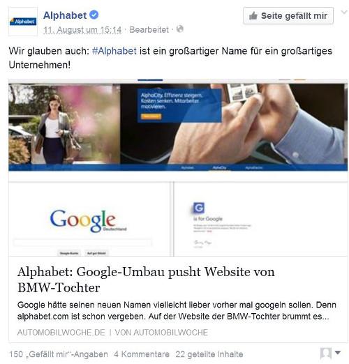 Umstrukturierung bei Google: BMW-Tochter Alphabet meldet sich auf Facebook zur neuen Holding zu Wort