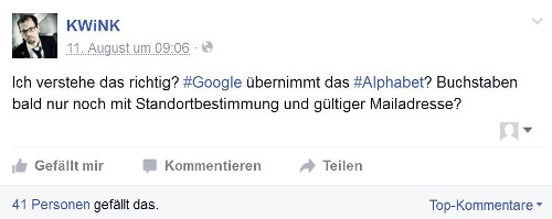 Facebook-User scherzt über Alphabet, Googles neuen Mutterkonzern