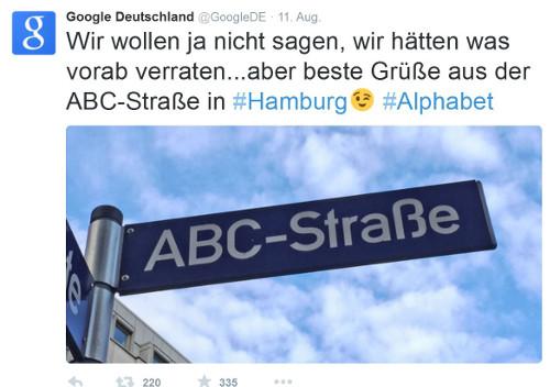 Tweet von Google Deutschland zur neuen Holding Alphabet
