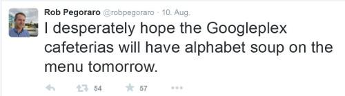 Twitter-User Rob Pegoraro äußert sich zum Google-Mutterkonzern Alphabet