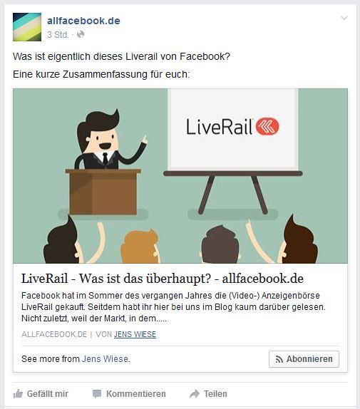 Facebook-Snippet mit Link aufs Autoren-Profil