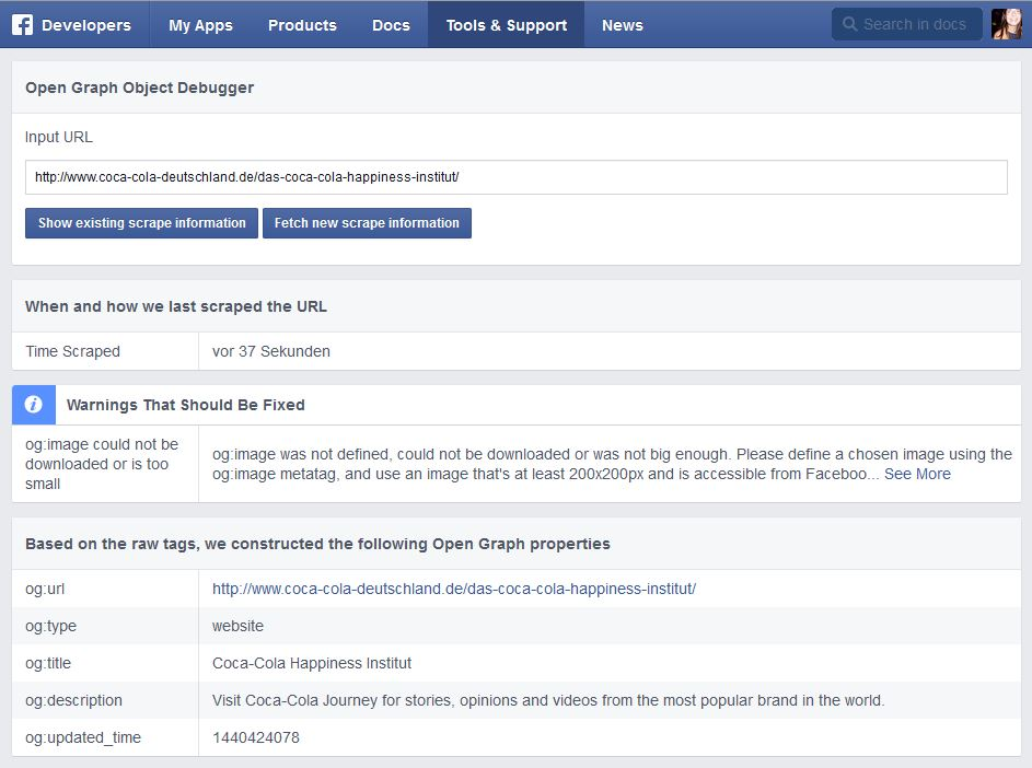 Einblick in den Facebook-Debugger mit Tag-Informationen