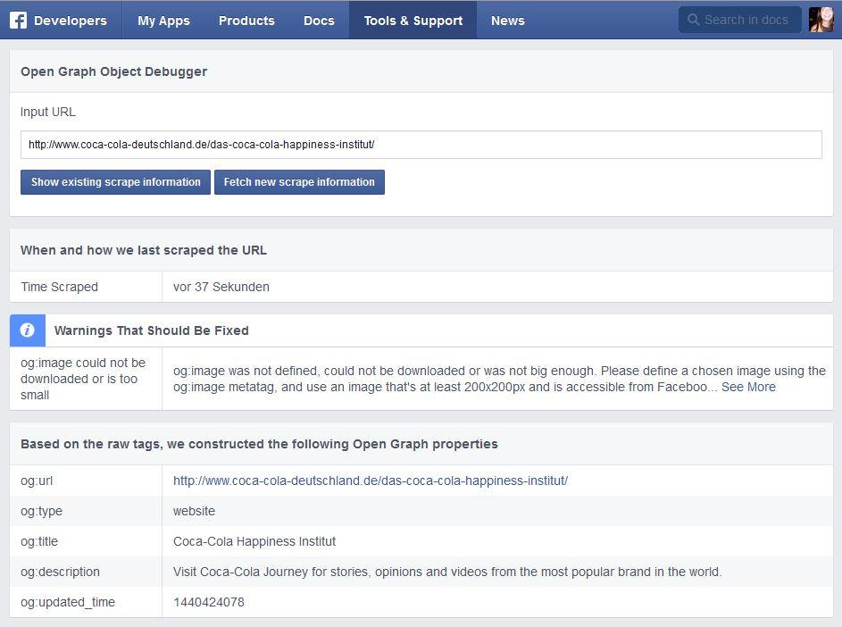 Einblick in den Facebook-Debugger mit Tag-Informationen
