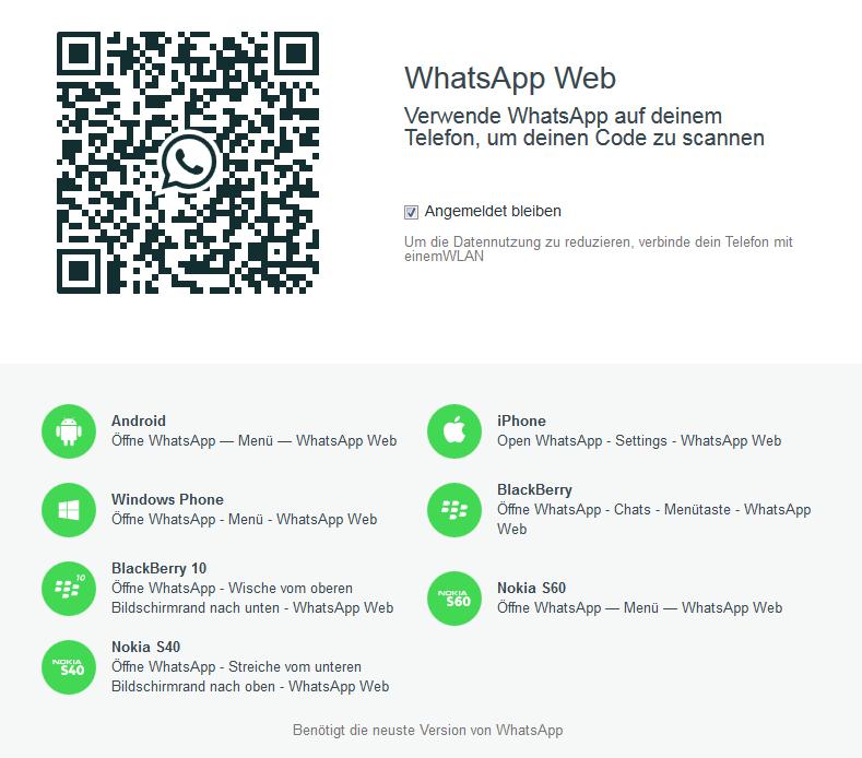 QR-Code zur Anmeldung für WhatsApp Web
