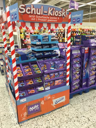 Milka Schulstartd Shop Display