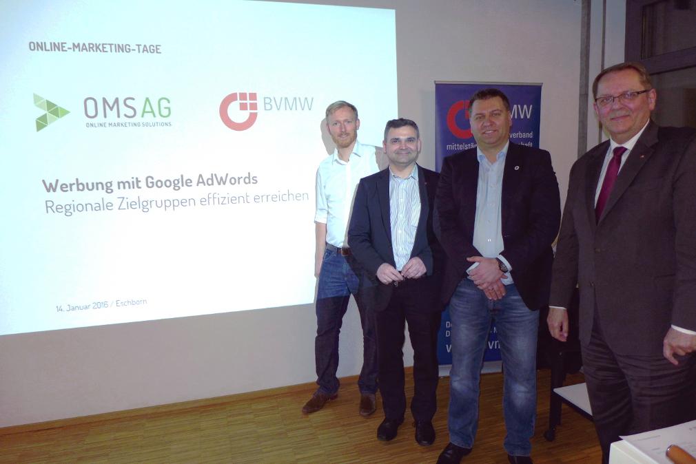 Auftakt der OMSAG Online-Marketing-Tage: Gruppenbild mit dem BVMW-Team der Region Frankfurt Rhein-Main.