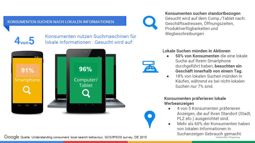 Suche nach lokalen Informationen: Screenshot aus der Präsentation von Google Partner Trainerin Sarah