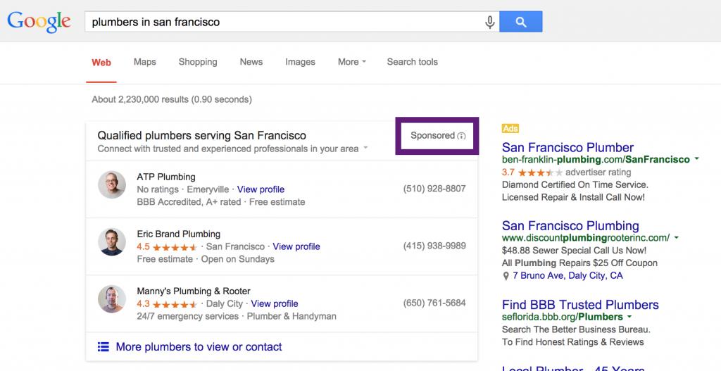Bezahlte lokale Suchergebnisse für Klempner in San Francisco.