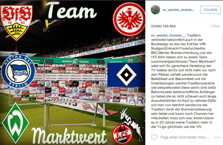 """Instagram-Post vom SV Werder Bremen zu """"Team Marktwert"""""""