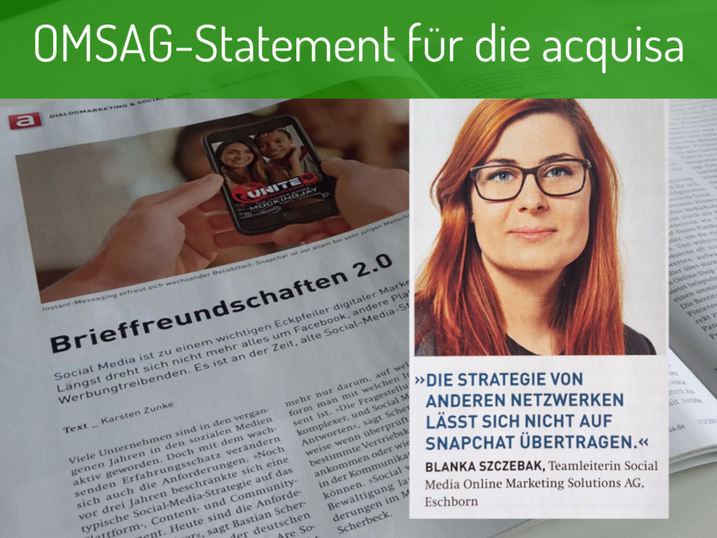OMSAG-Blog: Statement Blanka Szczebak für acquisa-Artikel