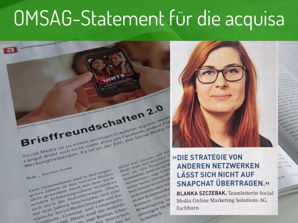 OMSAG-Blog: Statement Blanka Szczebak für acquisa-Artikel