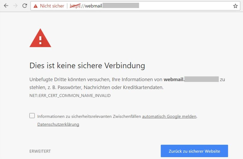 Abbildung einer Browsermeldung zu einer nicht sicheren SSL-Verbindung