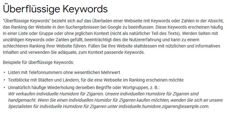 Google Aussage zur Verwendung von überflüssigen Keywords im Content bei der Optimierung einer Website