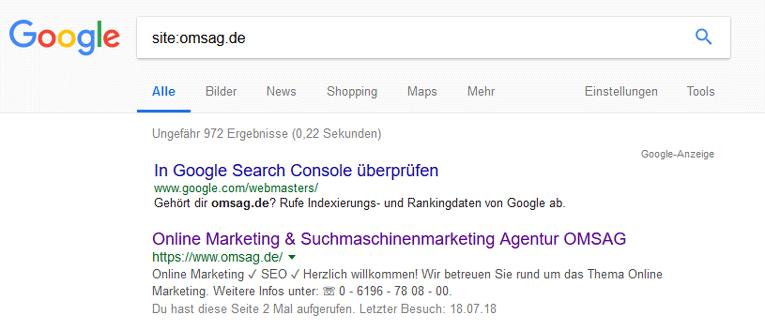 Site Abfrage bei Google mit dem Domainnamen: omsag.de