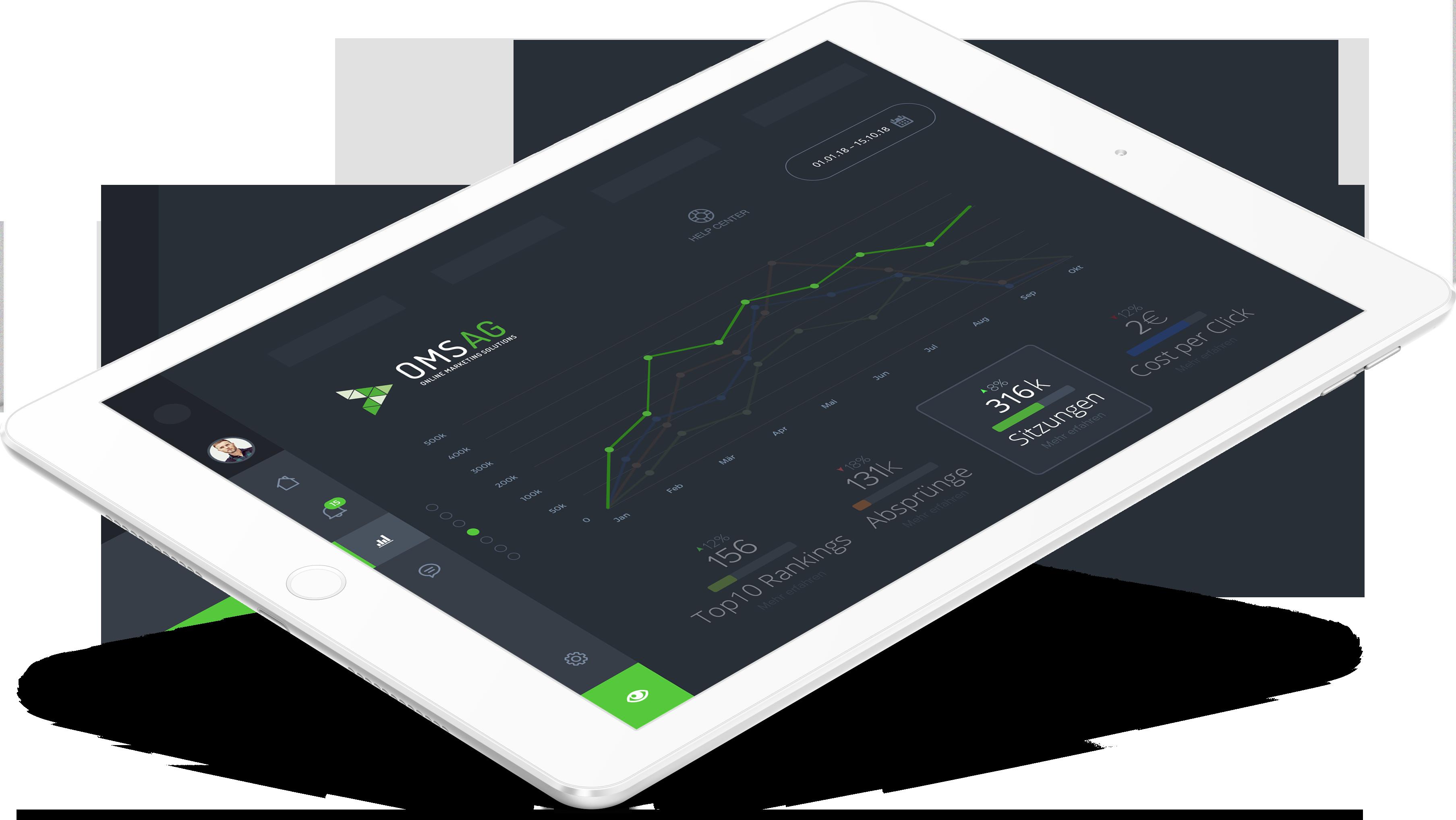 SEO Agentur OMSAG - Hero Shot Tablet SEO-Statistiken