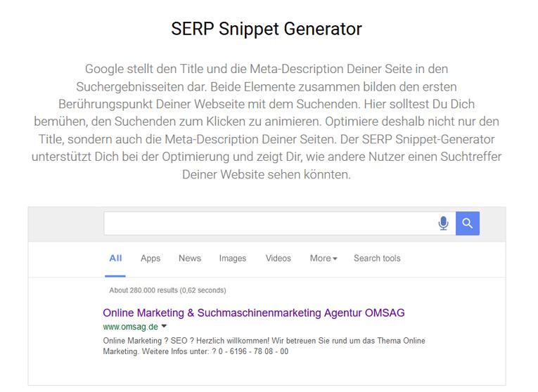 Google-Vorschau-Tool des Meta-Title und der Meta-Description