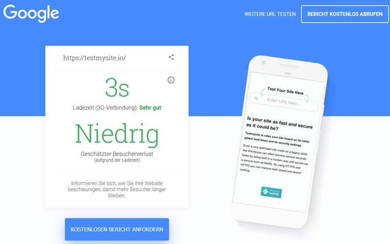 Google Page Speed Test von testmysite.io in 3 Sekunden