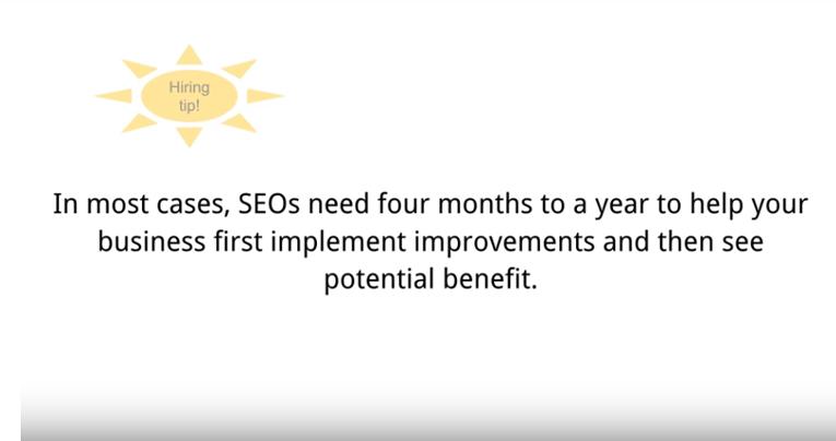 Laut Google dauert es 4 bis 12 Monate bis Suchmaschinenoptimierungsmaßnahmen Wirkung zeigen