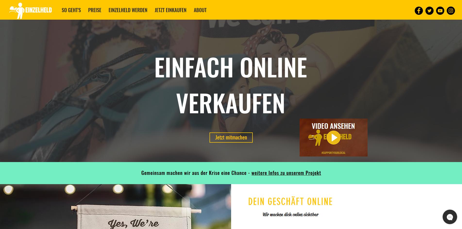 Screenshot Website Einzelheld.de