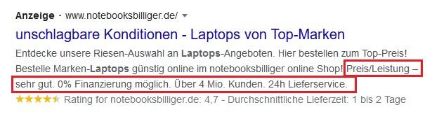 Beispiel Screenshot Google Ads notbooksbilliger.de