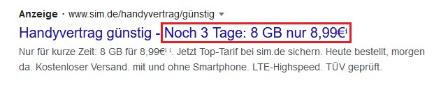 Beispiel Screenshot Google Ads sim.de