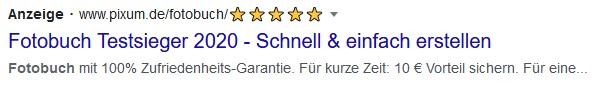 Beispiel Screenshot Google Ads pixum.de
