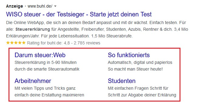Beispiel Screenshot Google Ads buhl.de