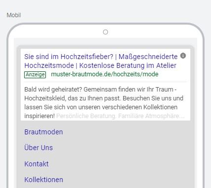 Musterbeispiel in der Google Ads Anzeigenvorschau