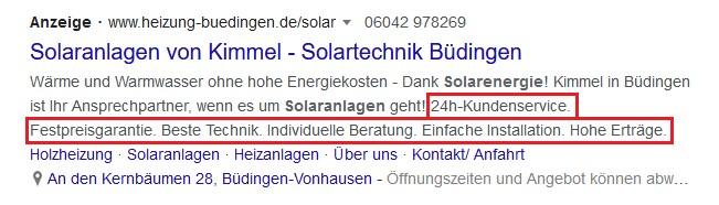 Beispiel Screenshot Google Ads heizung-buedingen.de