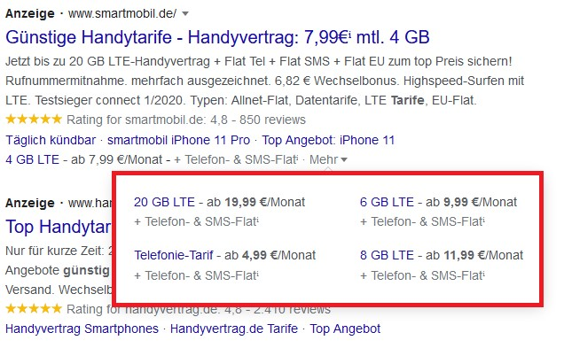 Beispiel Screenshot Google Ads smartmobile.de