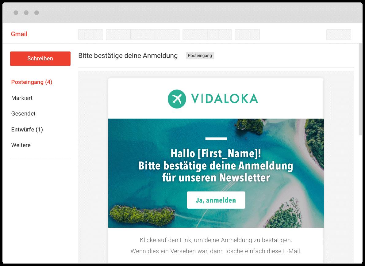 Beispiel Anmeldebestätigung in Gmail