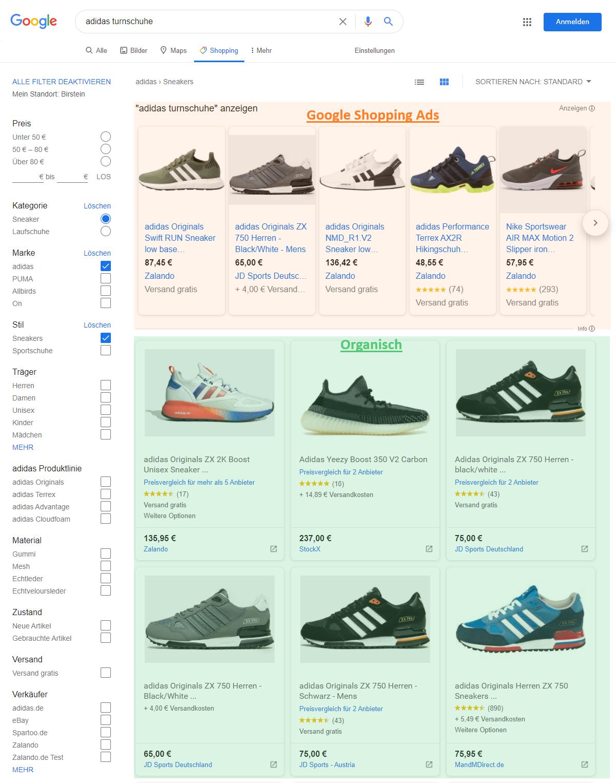 Abbildung 1: Neue Google Shopping Ansicht mit organischen Produkteinträgen (Screenshot)